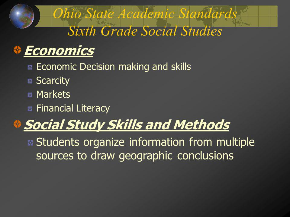Ohio State Academic Standards Sixth Grade Social Studies