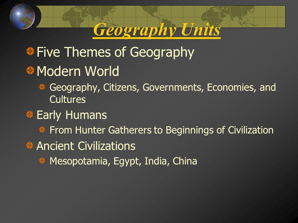 Geography Units Five Themes of Geography Modern World Early Humans