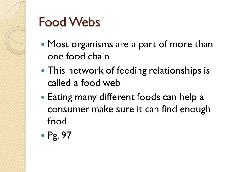 Food Webs Most organisms are a part of more than one food chain