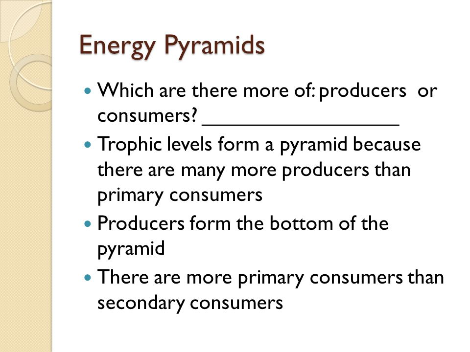 Energy Pyramids Which are there more of: producers or consumers _________________.