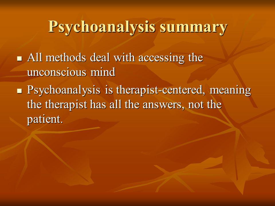 Psychoanalysis summary