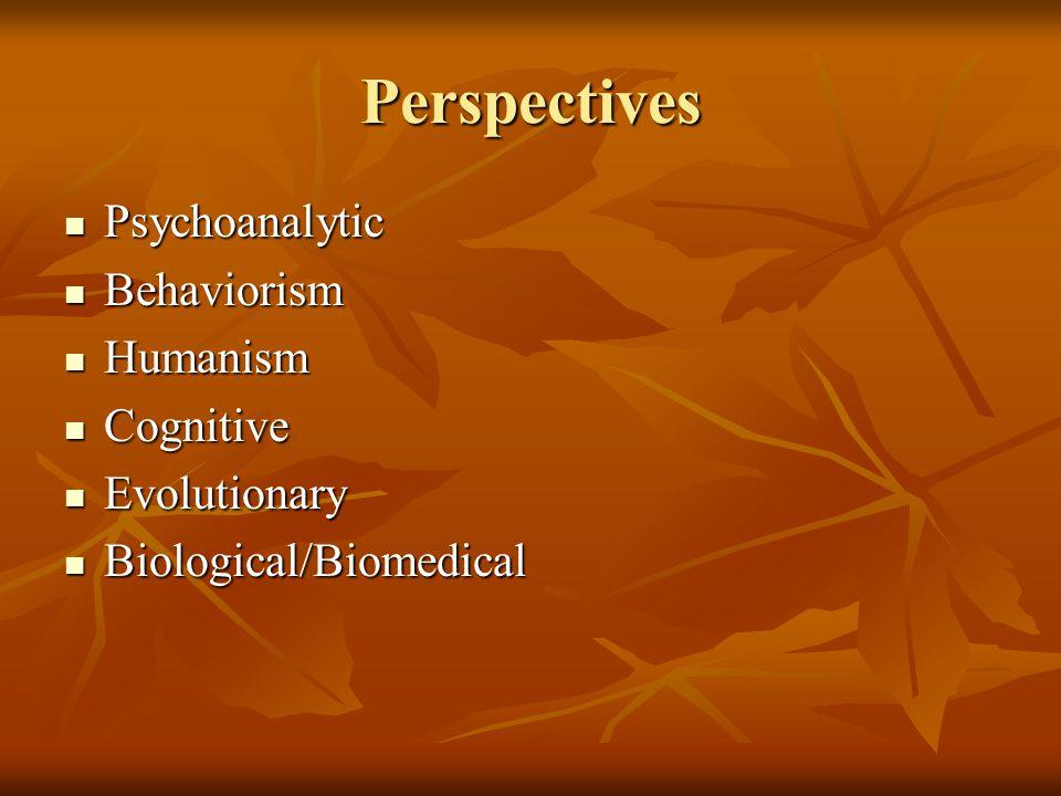 Perspectives Psychoanalytic Behaviorism Humanism Cognitive