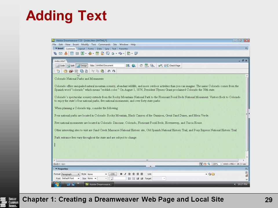 Adding Text Chapter 1: Creating a Dreamweaver Web Page and Local Site