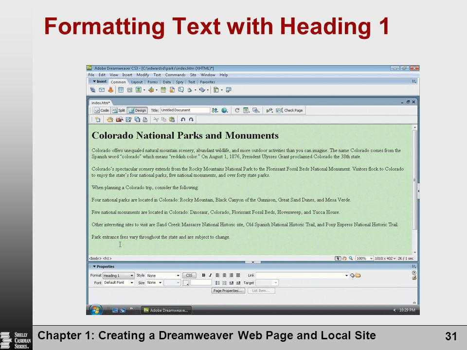 Formatting Text with Heading 1