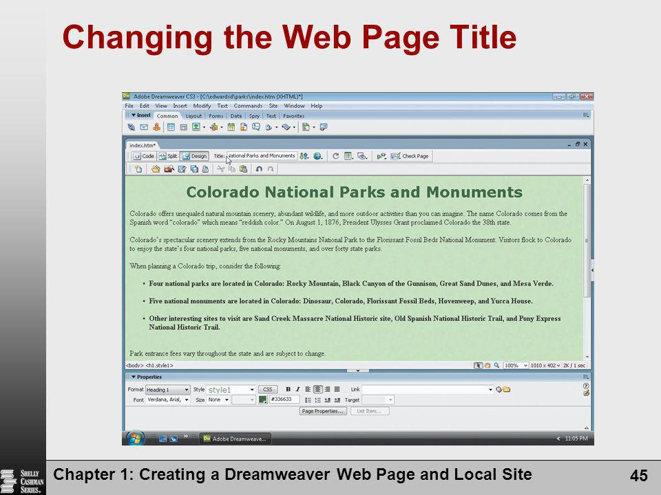 Changing the Web Page Title