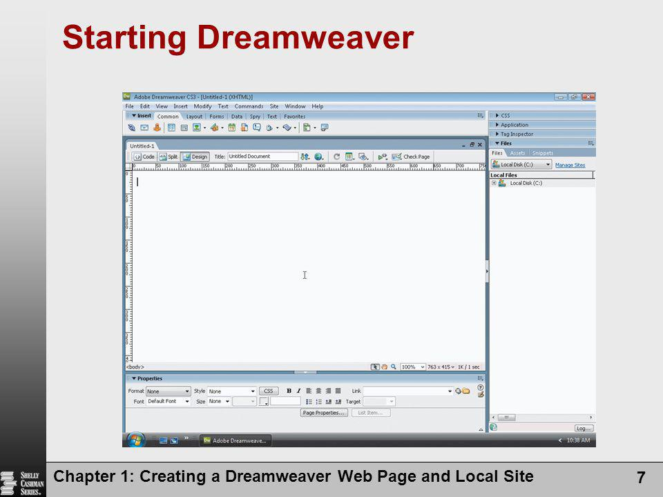 Starting Dreamweaver Chapter 1: Creating a Dreamweaver Web Page and Local Site