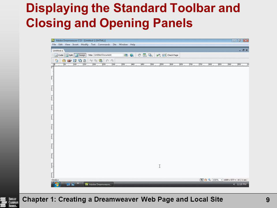 Displaying the Standard Toolbar and Closing and Opening Panels