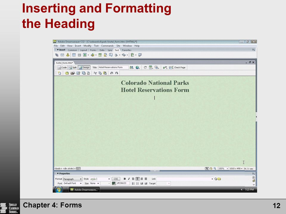 Inserting and Formatting the Heading