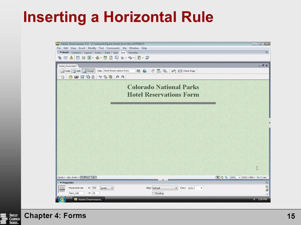 Inserting a Horizontal Rule