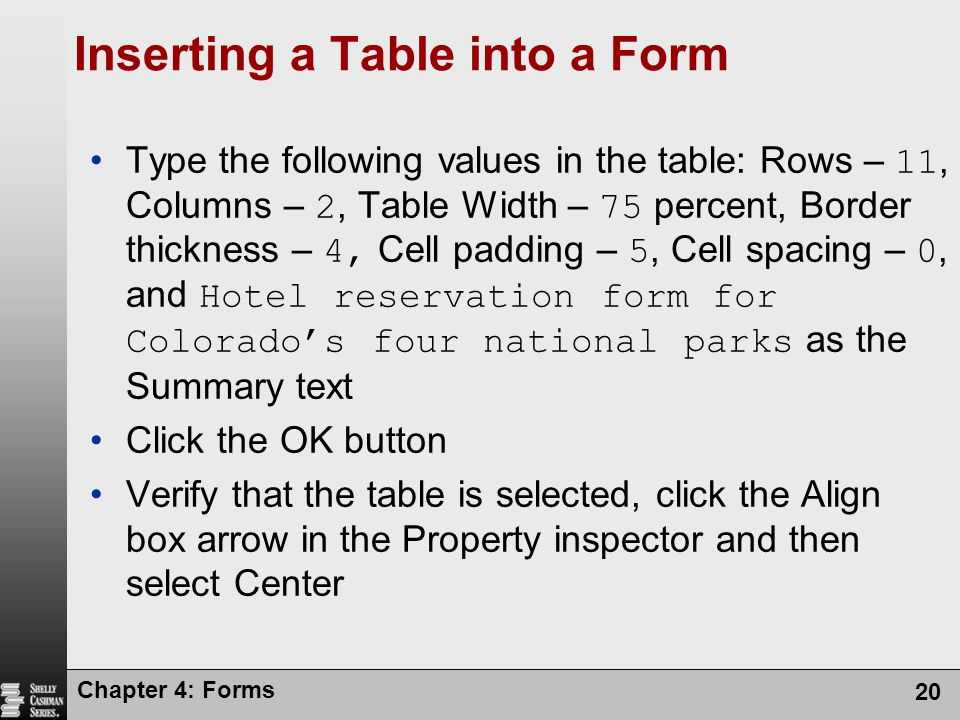 Inserting a Table into a Form