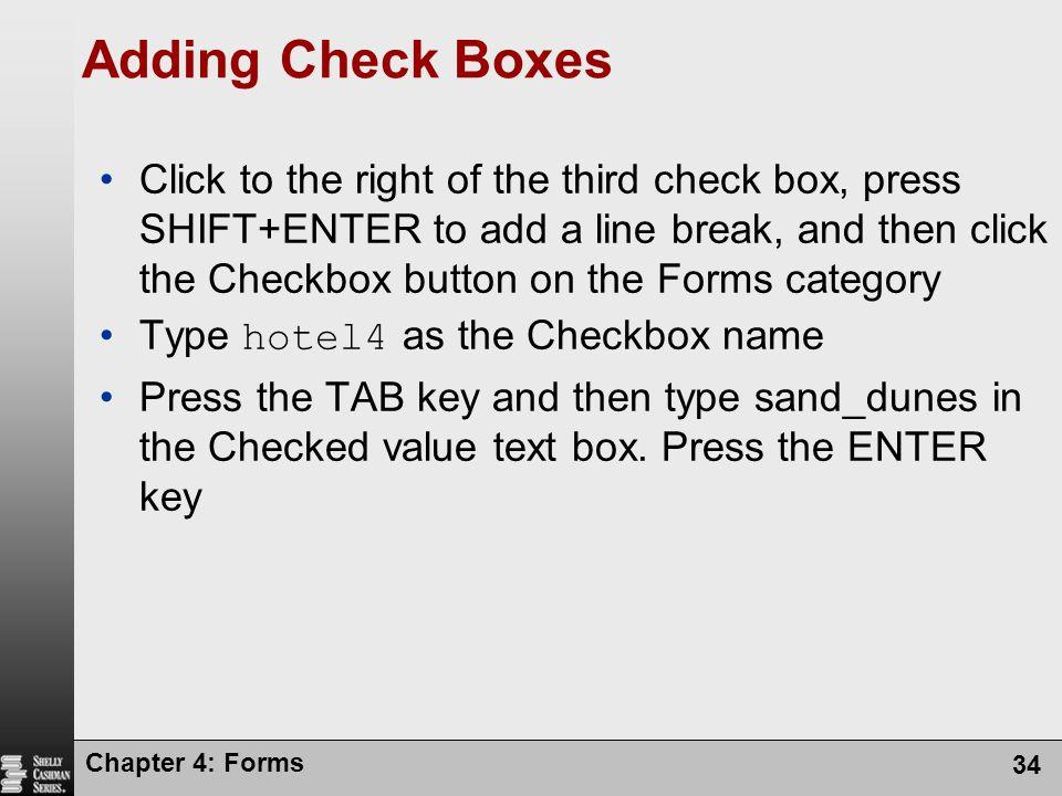Adding Check Boxes