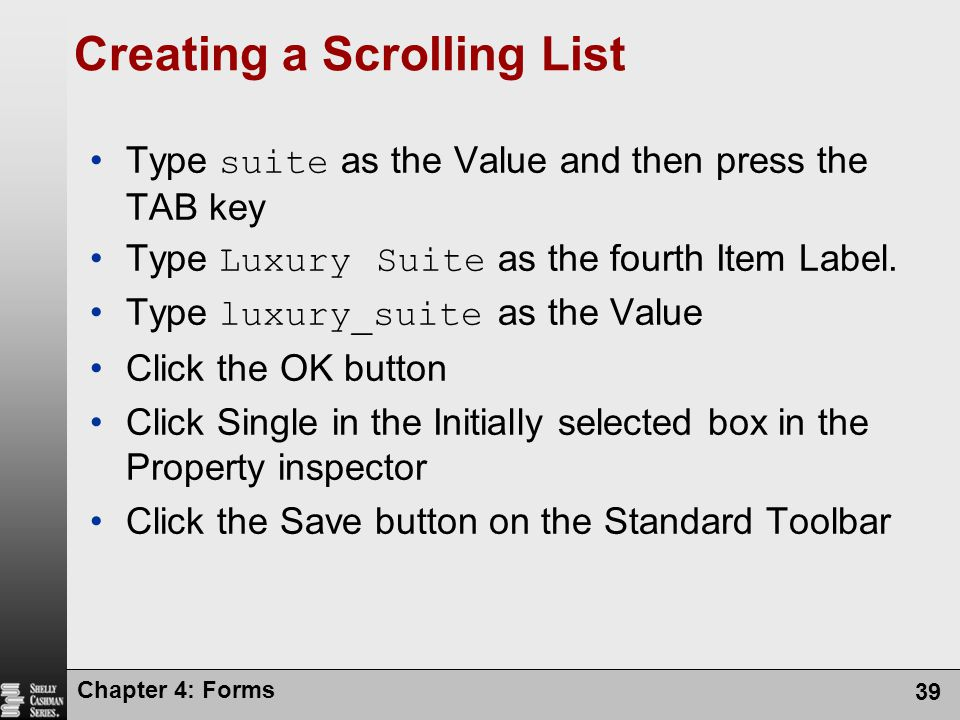 Creating a Scrolling List
