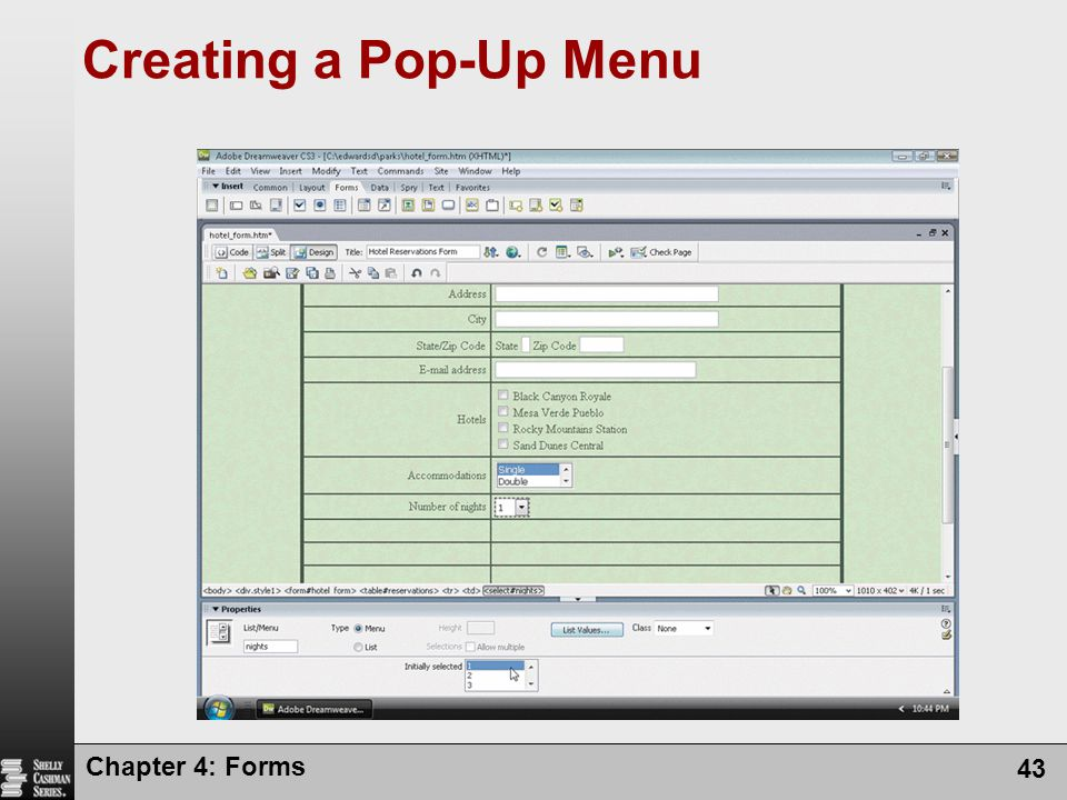 Creating a Pop-Up Menu Chapter 4: Forms