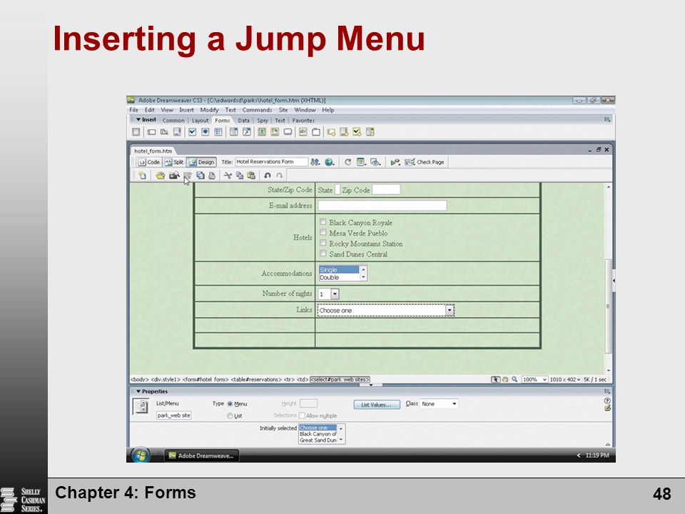 Inserting a Jump Menu Chapter 4: Forms