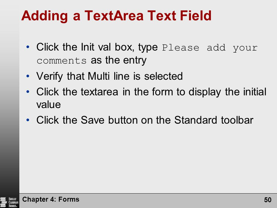 Adding a TextArea Text Field
