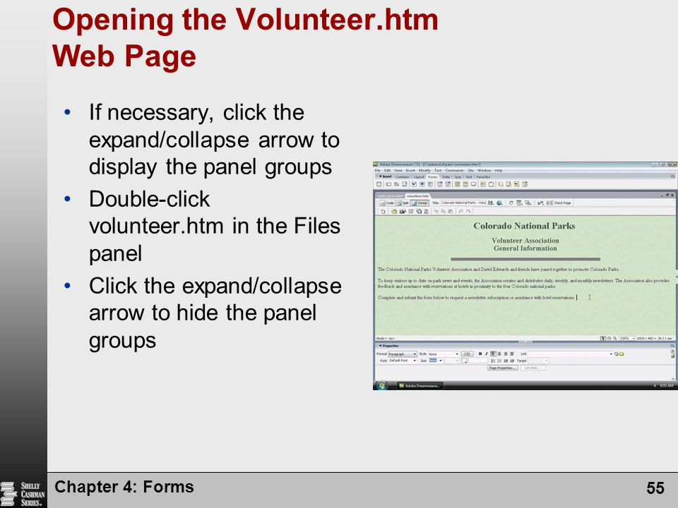 Opening the Volunteer.htm Web Page