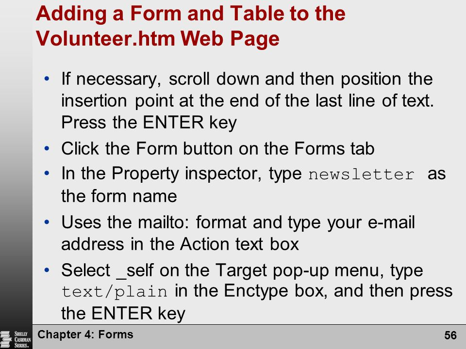 Adding a Form and Table to the Volunteer.htm Web Page