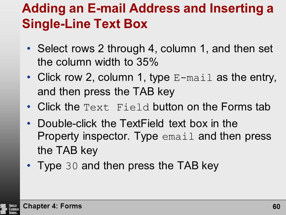 Adding an E-mail Address and Inserting a Single-Line Text Box
