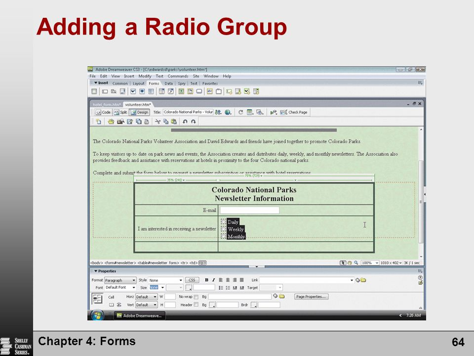 Adding a Radio Group Chapter 4: Forms