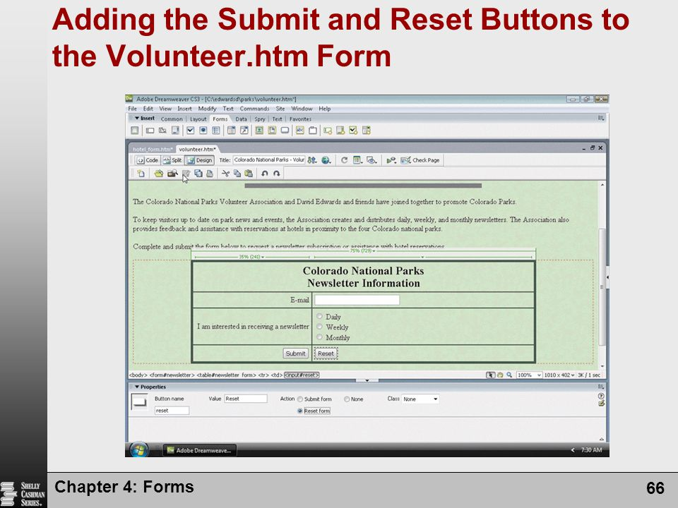 Adding the Submit and Reset Buttons to the Volunteer.htm Form