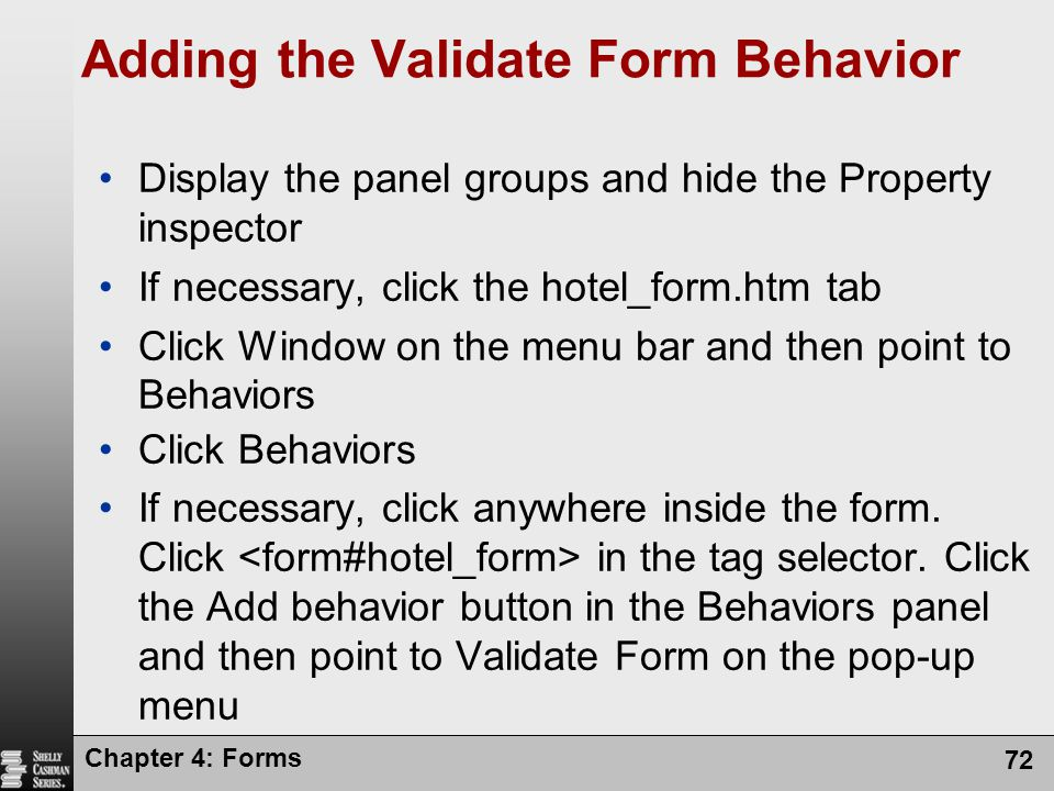 Adding the Validate Form Behavior