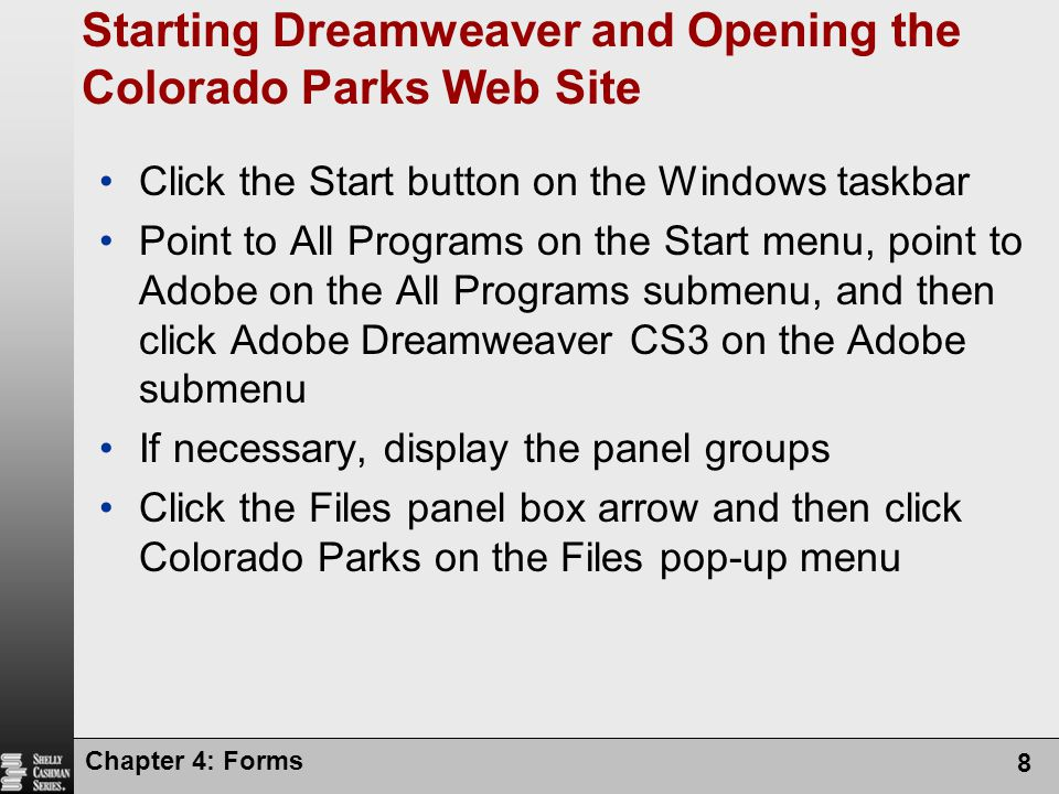 Starting Dreamweaver and Opening the Colorado Parks Web Site