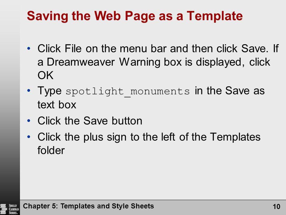 Saving the Web Page as a Template