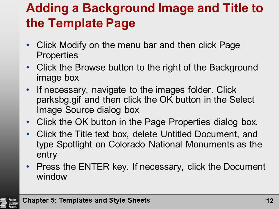Adding a Background Image and Title to the Template Page