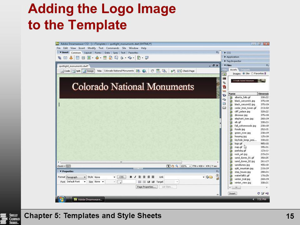 Adding the Logo Image to the Template