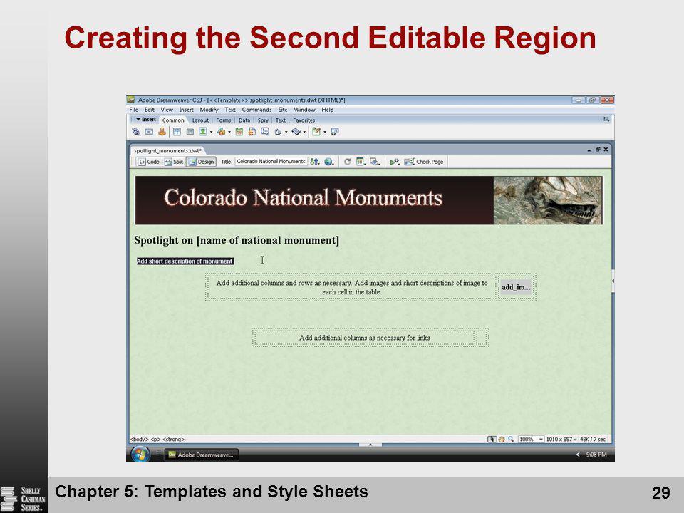 Creating the Second Editable Region