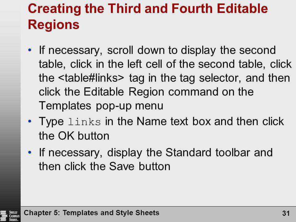 Creating the Third and Fourth Editable Regions