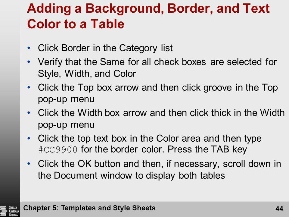 Adding a Background, Border, and Text Color to a Table