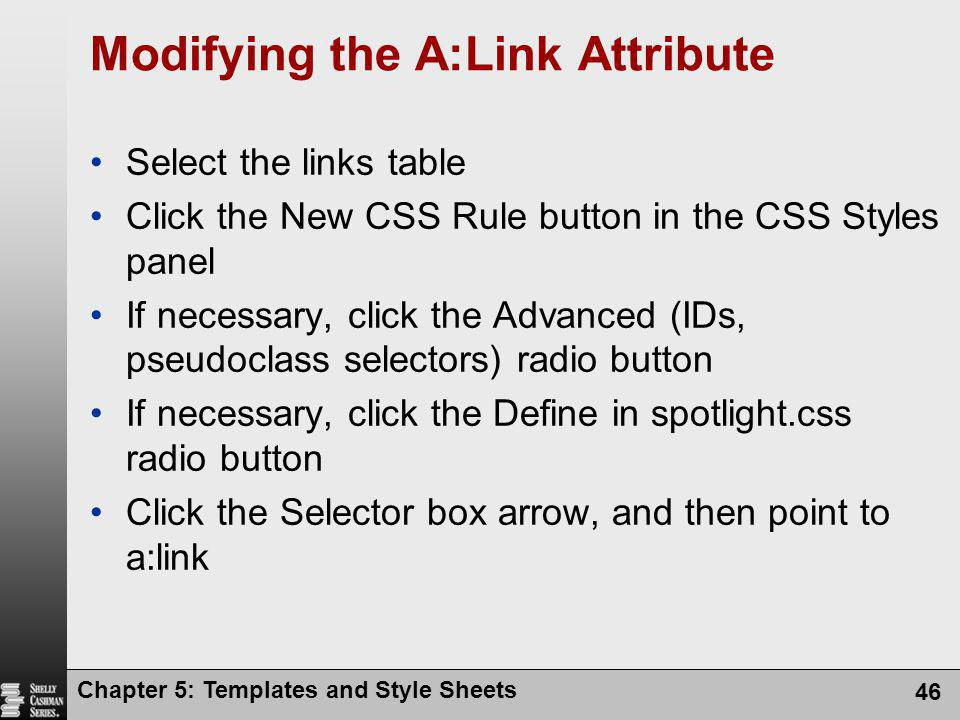 Modifying the A:Link Attribute