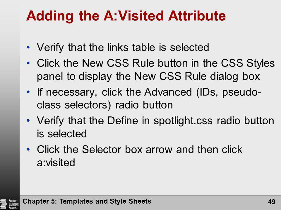 Adding the A:Visited Attribute