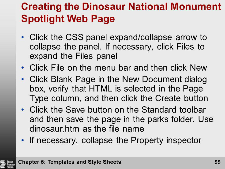Creating the Dinosaur National Monument Spotlight Web Page