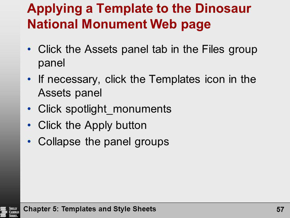 Applying a Template to the Dinosaur National Monument Web page