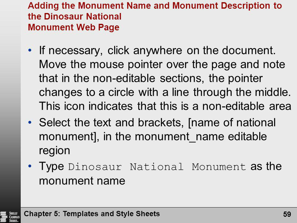 Type Dinosaur National Monument as the monument name