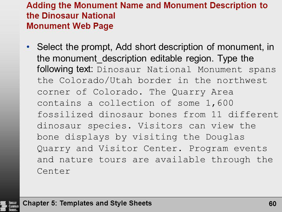 Adding the Monument Name and Monument Description to the Dinosaur National Monument Web Page