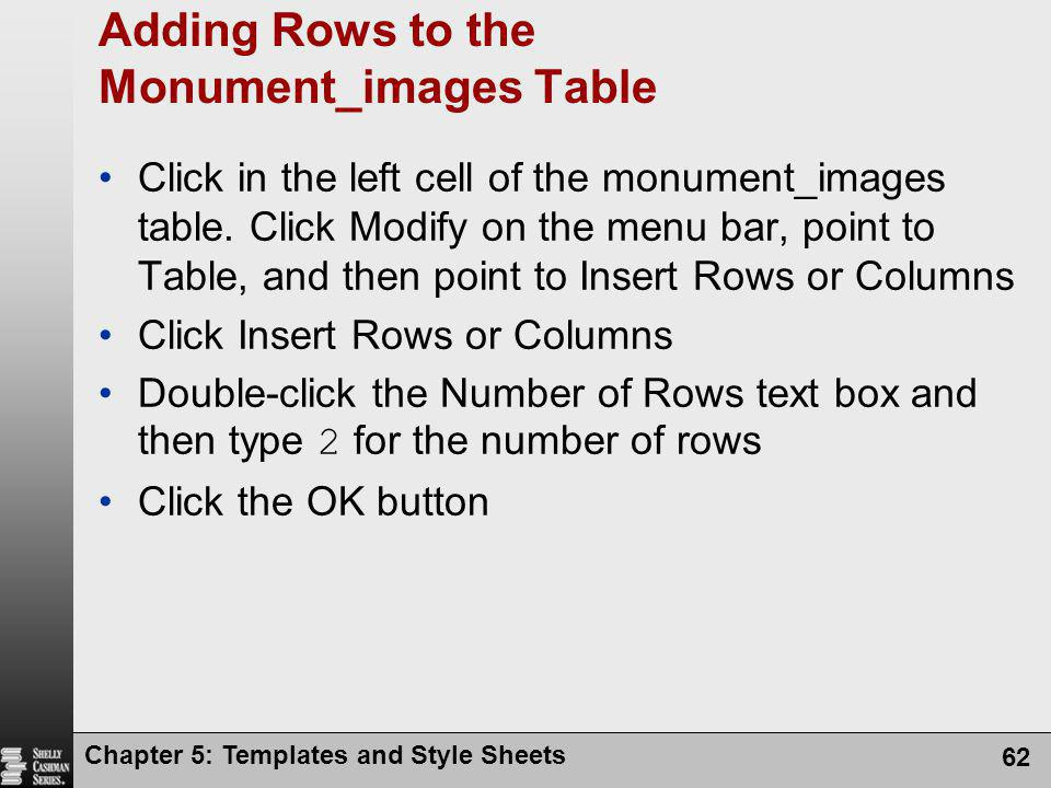 Adding Rows to the Monument_images Table