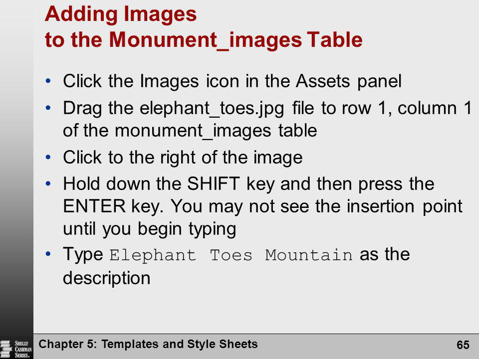 Adding Images to the Monument_images Table