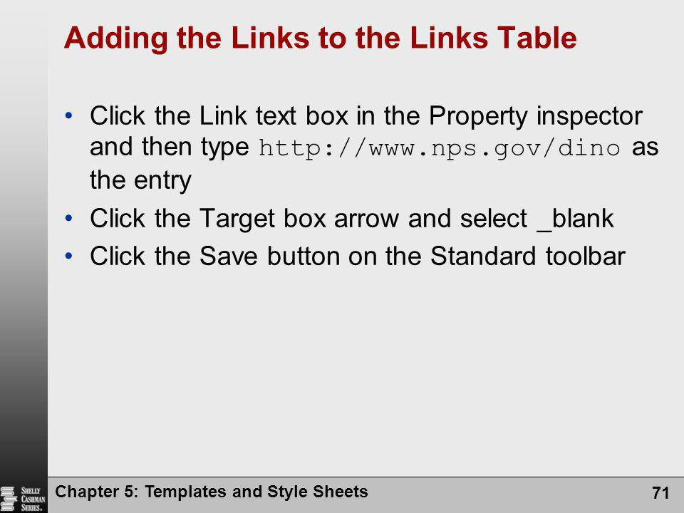 Adding the Links to the Links Table