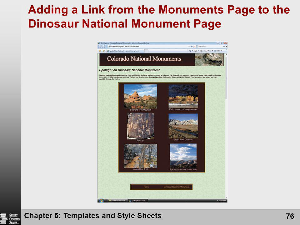 Adding a Link from the Monuments Page to the Dinosaur National Monument Page