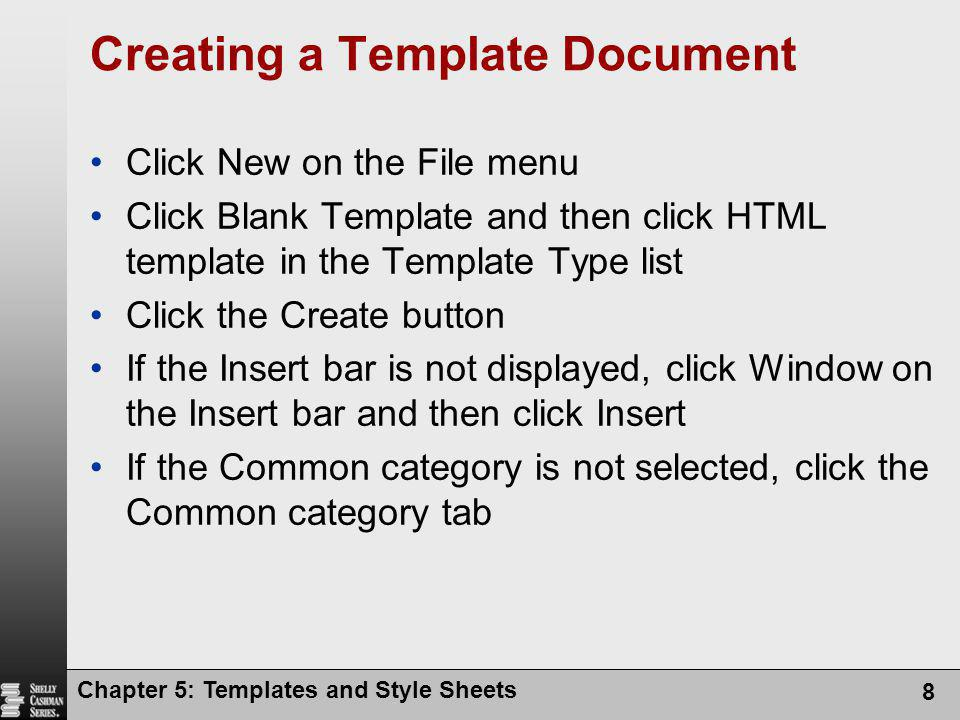 Creating a Template Document