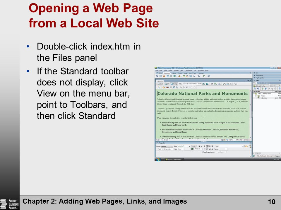 Opening a Web Page from a Local Web Site
