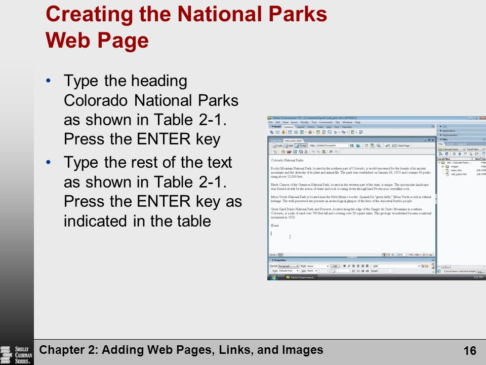 Creating the National Parks Web Page