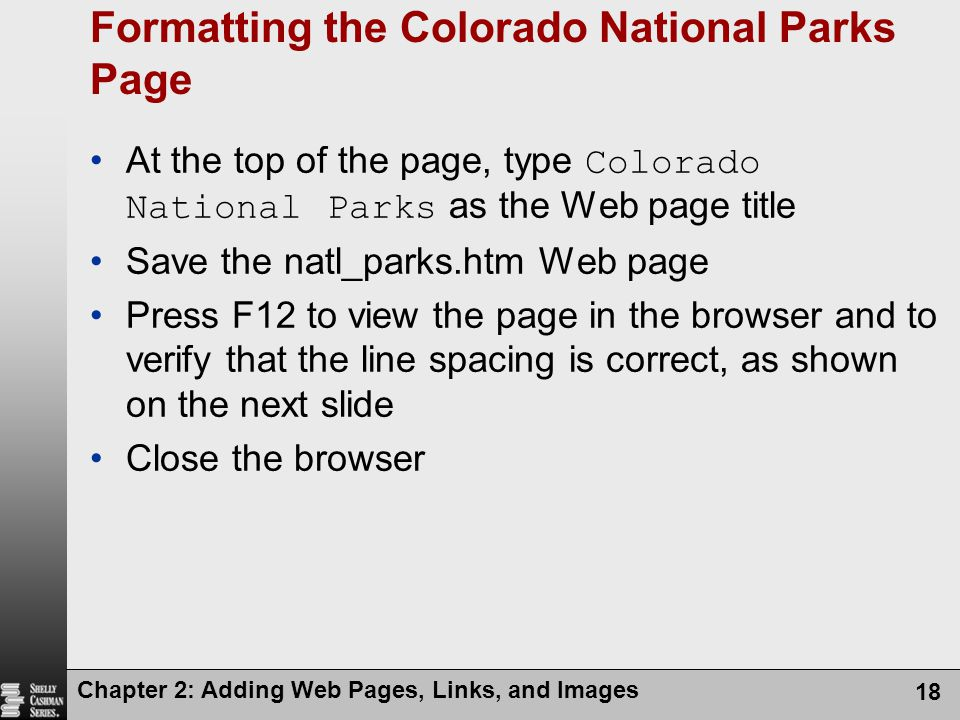 Formatting the Colorado National Parks Page