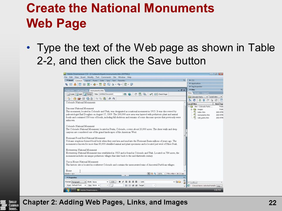 Create the National Monuments Web Page