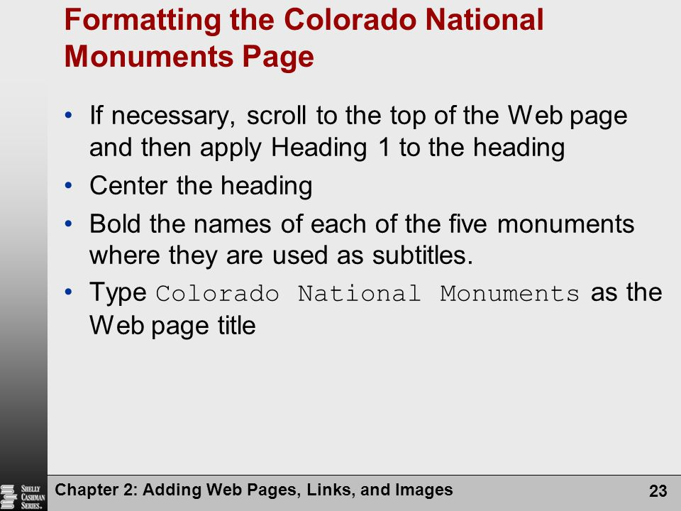 Formatting the Colorado National Monuments Page