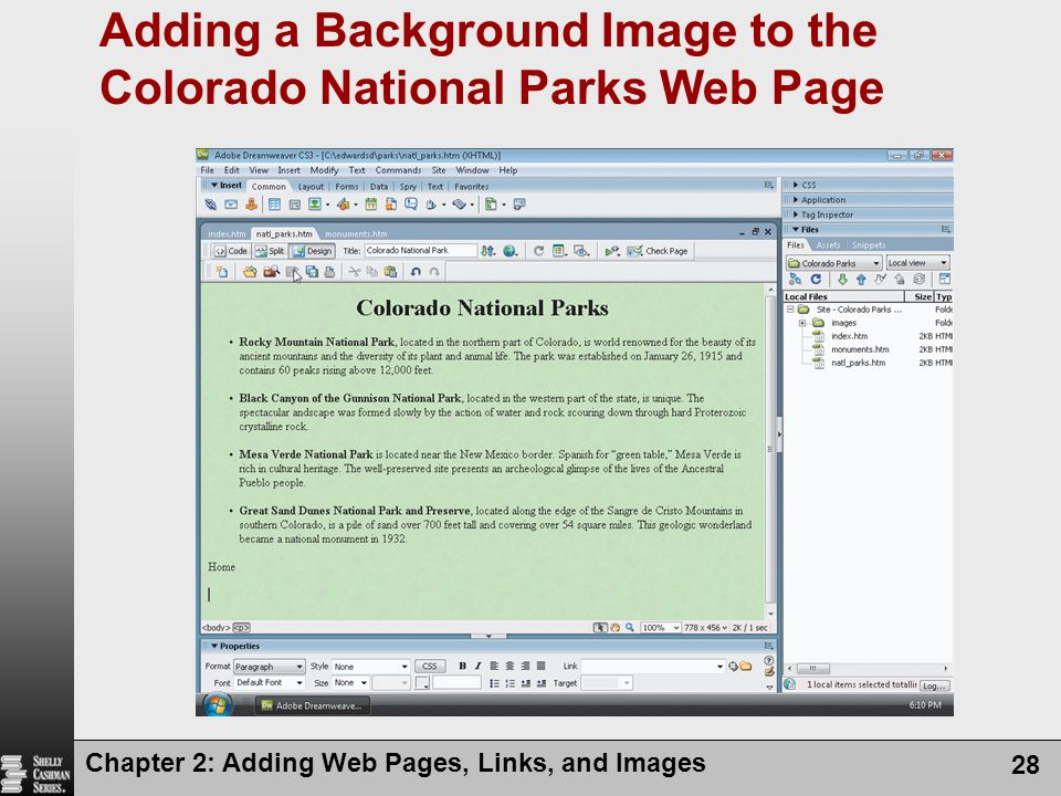 Adding a Background Image to the Colorado National Parks Web Page