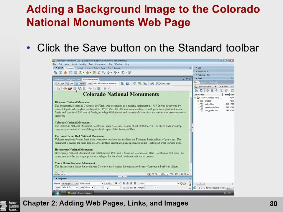 Adding a Background Image to the Colorado National Monuments Web Page